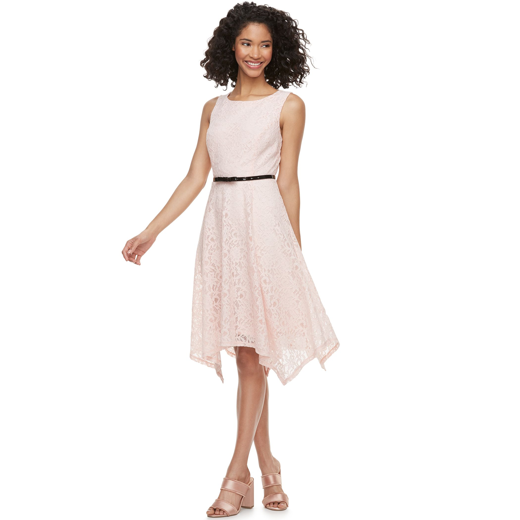 Captivating Womenu0027s ELLE™ Lace Handkerchief Hem Fit U0026 Flare Dress