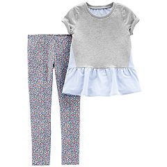 Girls 4-8 Carter's Peplum Top & Floral Leggings Set