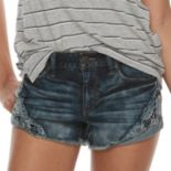 Juniors' Mudd® Crochet Denim Shorts