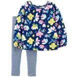 Toddler Girl Carter's Floral Top & Striped Leggings Set