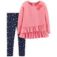 Toddler Girl Carter's Ruffled Tunic & Woodland Print Leggings Set
