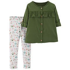 Toddler Girl Carter's Ruffled Shirt & Woodland Leggings Set