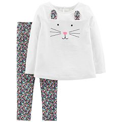 Toddler Girl Carter's Bunny Top & Floral Leggings Set