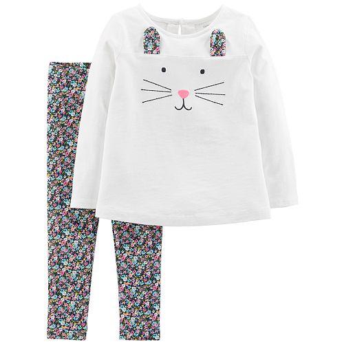 81762e34284d3 Toddler Girl Carter's Bunny Top & Floral Leggings Set