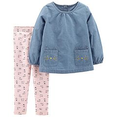 Toddler Girl Carter's Cat Chambray Top & Kitty Leggings Set
