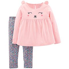 Toddler Girl Carter's Bear Top & Floral Leggings Set