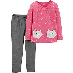 Toddler Girl Carter's Cat Polka-Dot Top & Pants Set
