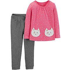 Toddler Girl Carter's Cat Polka-Dot Top & Pants Set