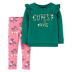 Toddler Girl Carter's 'Cutest Ever' Floral French Terry Top & Leggings Set