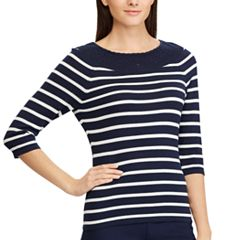 Women's Chaps Striped Lace-Trim Sweater