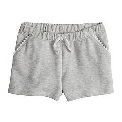 Girls 4-10 Jumping Beans® Pom-Pom Trim Pockets French Terry Shorts