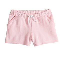 Girls 4-10 Jumping Beans® Pom-Pom Trim Pockets French Terry Shorts