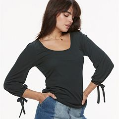k/lab Solid Tie Sleeve Ribbed Top