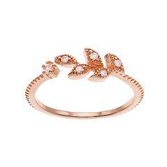 LC Lauren Conrad Cubic Zirconia Openwork Leaf Ring