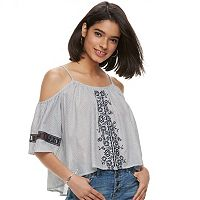 Juniors' Rewind High-Low Cold-Shoulder Peasant Top