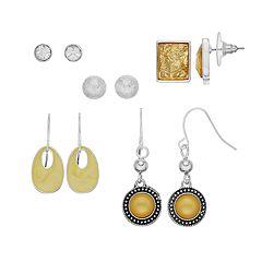 Yellow Nickel Free Stud & Drop Earring Set