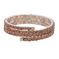 Rose Gold Tone Simulated Crystal Coil Bracelet