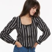 k/lab Tie Front Striped Top