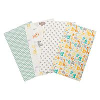 Trend Lab Mint Jungle 4 pkFlannel Burp Cloths