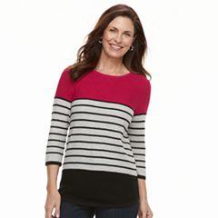 Women's Croft & Barrow® Striped Crewneck Sweater