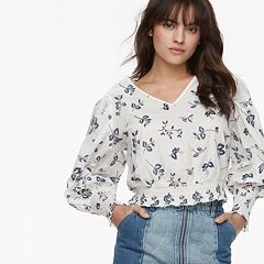 k/lab Floral Embroidered Smocked Top