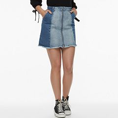 k/lab Denim Patchwork Mini Skirt