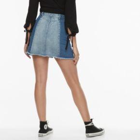 k/lab Denim Patchwork Mini Skirt
