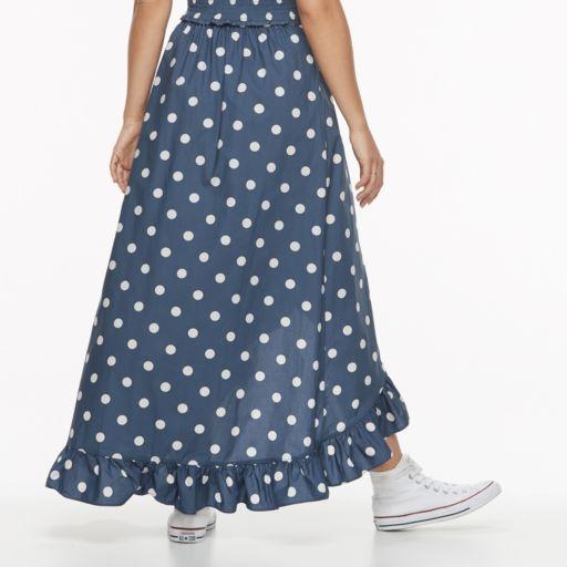 k/lab Polka-Dot Ruffled Faux Wrap Skirt