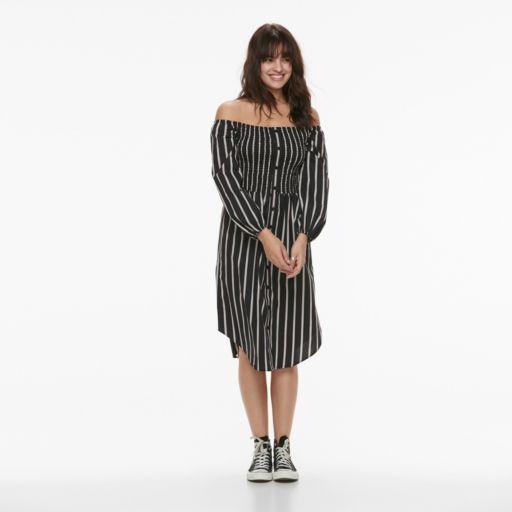 k/lab Striped Smocked Off-the-Shoulder Shirtdress