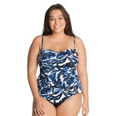 Plus Size Great Lengths D-Cup Ruched One-Piece Swimsuit