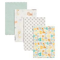 Trend Lab Mint Jungle 4 pkFlannel Swaddle Blankets