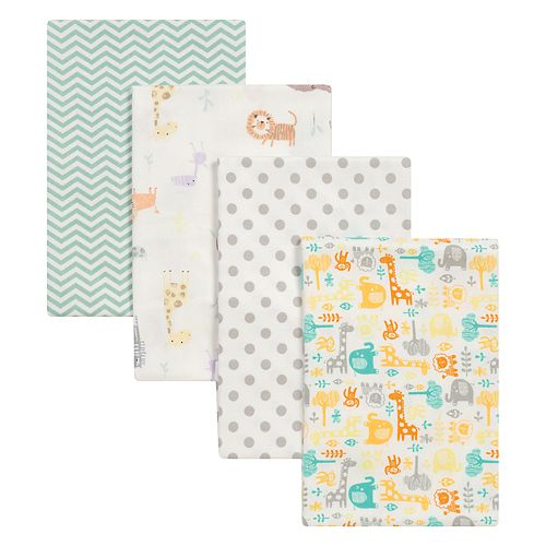 Trend Lab Mint Jungle 4 Pk Flannel Swaddle Blankets