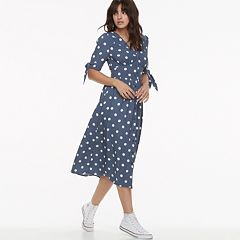 k/lab Polka-Dot Tie Sleeve Midi Dress