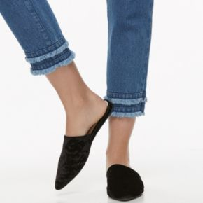 k/lab Frayed Mid-Rise Crop Jeans