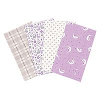 Trend Lab Llamas & Unicorns 4 pkFlannel Burp Cloths