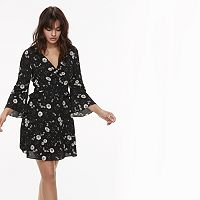 k/lab Ruffled Floral Bell Sleeve Mini Dress