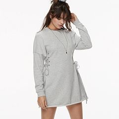 k/lab Lace-Up Sweatshirt Dress