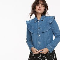 k/lab Ruffled Denim Jacket