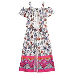 Girls 7-16 My Michelle Floral Walk-Through Cold Shoulder Maxi Romper