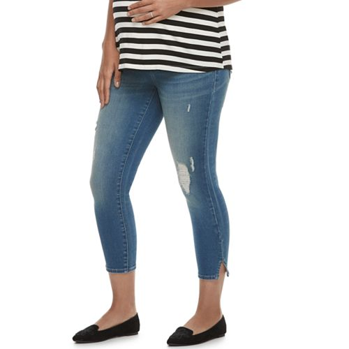 Maternity a:glow Full Belly Panel Capri Jeans
