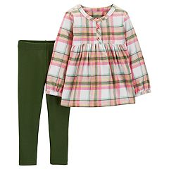 Toddler Girl Carter's Plaid Babydoll Top & Leggings Set