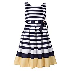 Girls 7-16 Bonnie Jean Striped Border Nautical Dress