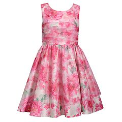 Girls 7-16 Bonnie Jean Shantung Mesh Floral Printed Dress