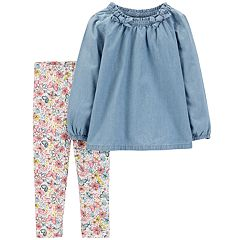 Toddler Girl Carter's Chambray Top & Butterfly Leggings Set