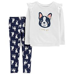 Toddler Girl Carter's 'I Woof You' French Bulldog Top & Leggings Set