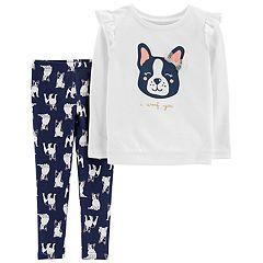 Toddler Girl Carter's 'I Woof You' French Bulldog Top & Leggings Set