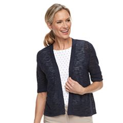 Women's Croft & Barrow® Textured Crop Cardigan Sweater