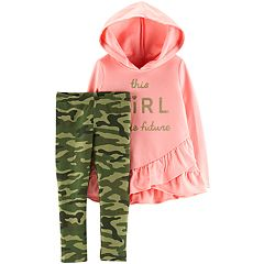 Toddler Girl Carter's 'Future Girl' Ruffled Hoodie & Camo Leggings Set