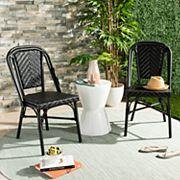 Safavieh Black Indoor / Outdoor Stacking Wicker Chair 2 pc Set
