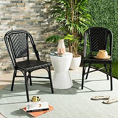 Safavieh Black Indoor / Outdoor Stacking Wicker Chair 2-piece Set